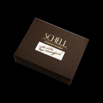 Roter Weinbergpfirsich-Brand-Schokolade