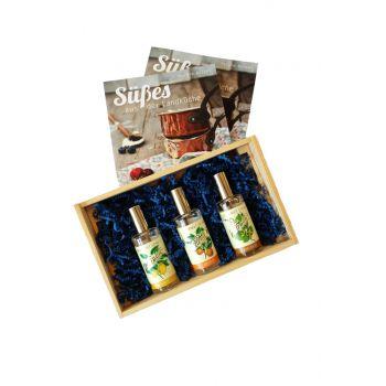 """3er Gourmet Spray-Set """"süß"""" inkl. """"Süßes aus der Landküche"""" von Sternekoch Harald Rüssel"""